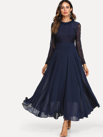 The Katrina Lace Panel Sleeve Pleated Dress