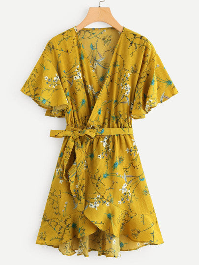 Floral Print Surplice Self Tie Waist Dress