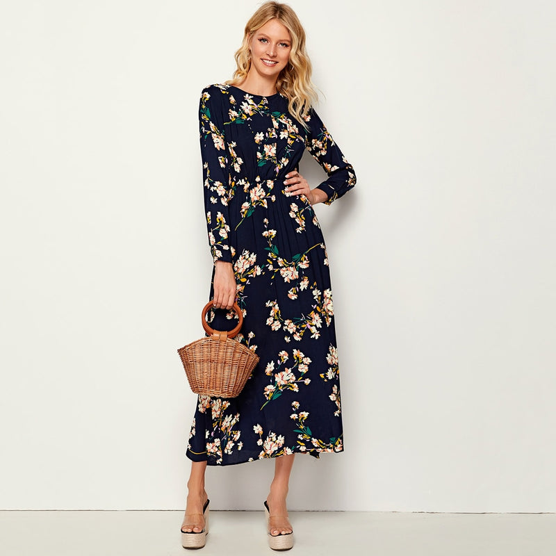 Allover Floral Print Elastic Waist Plicated Dress