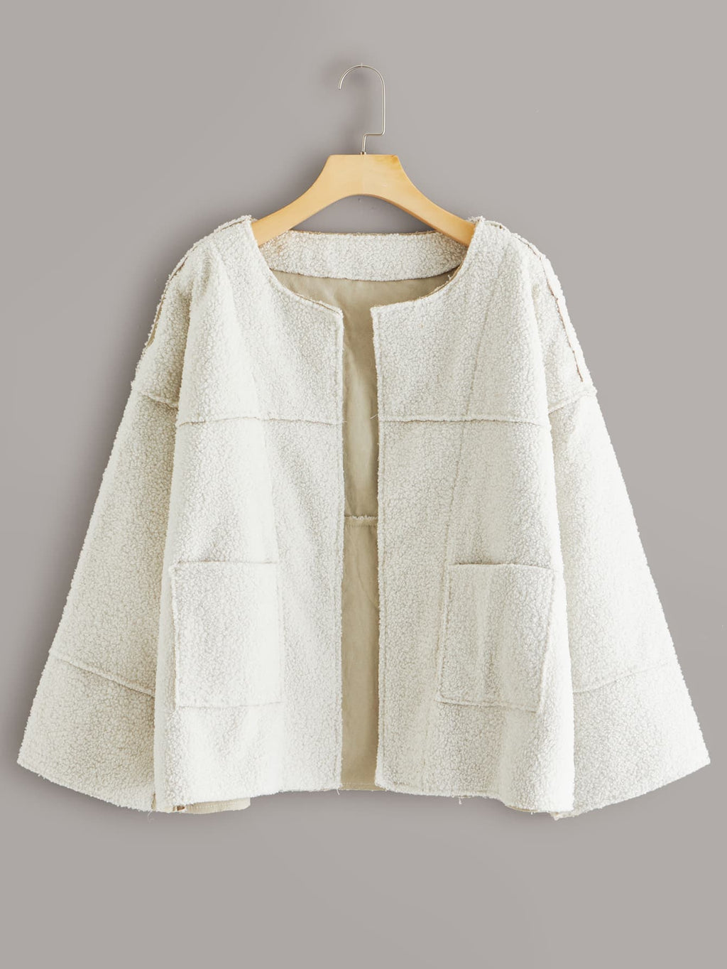 Solid Dual Pocket Open Front Teddy Coat