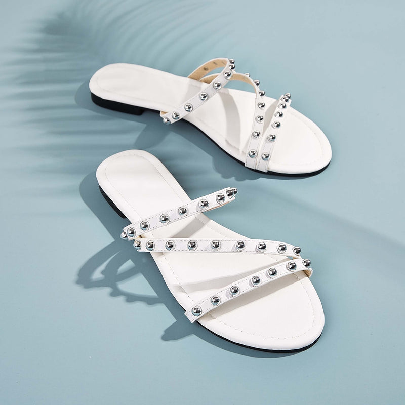 Studded Decor Open Toe Sliders