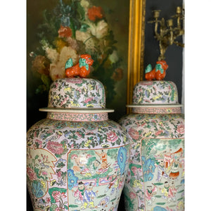 19th Century Rose Familie Verte Porcelain Ginger Jars-a Pair