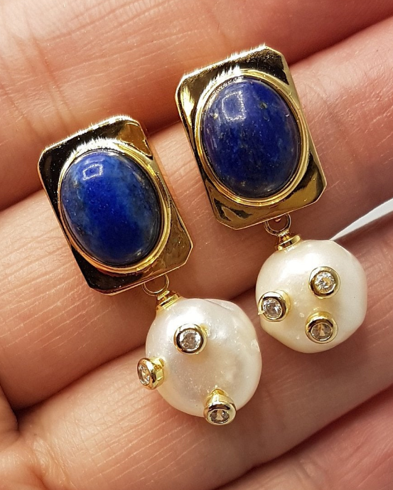Baroque Pearl and Blue Agate Renaissance Earrings