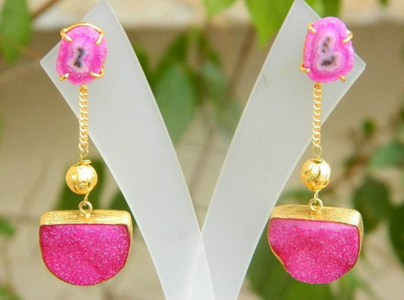 CHINOISERIE PINK AND GOLD EARRINGS