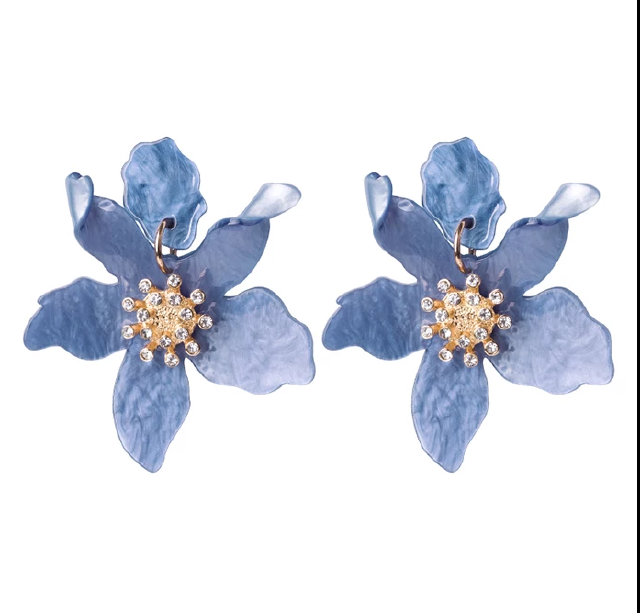 Caribbean Blue Botanical Earrings