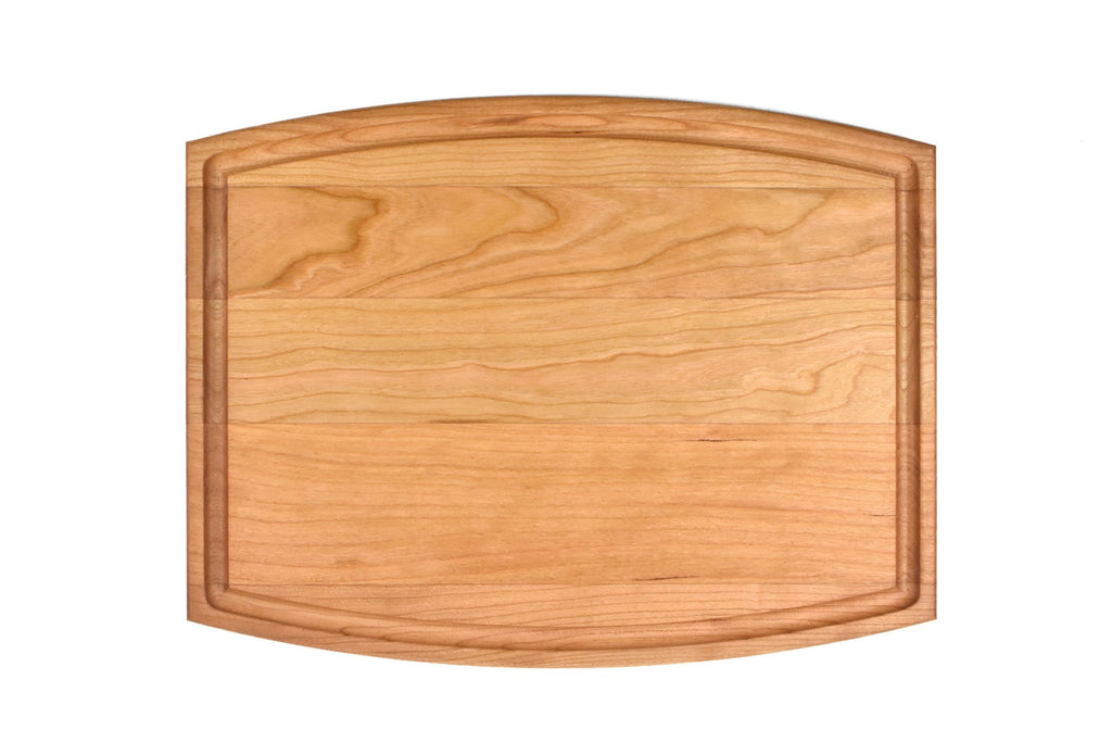 "Arched Cherry Cutting Board With Juice Groove (9"" x 12"")"