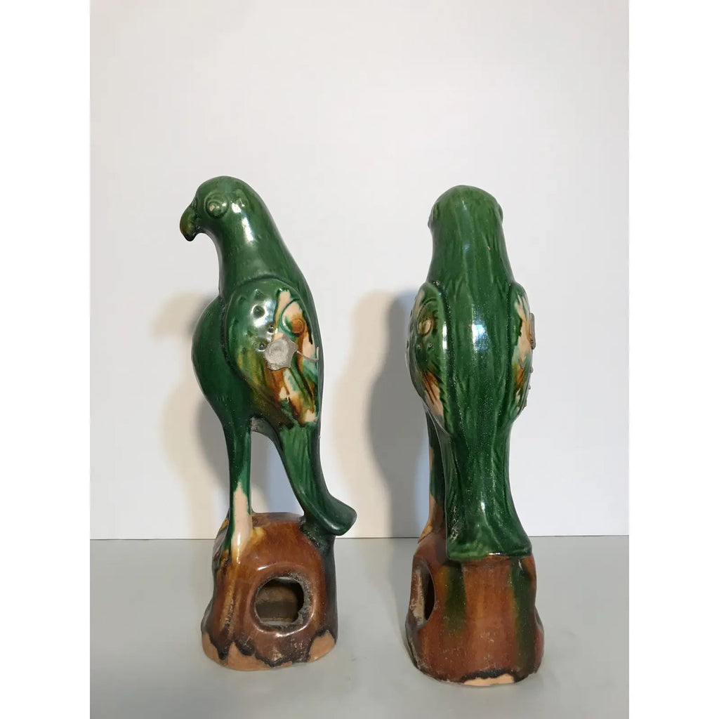 20th Century Chinese Lead-Glazed Terracotta Birds - a Pair