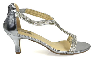 Diamante Kitten Heel Silver