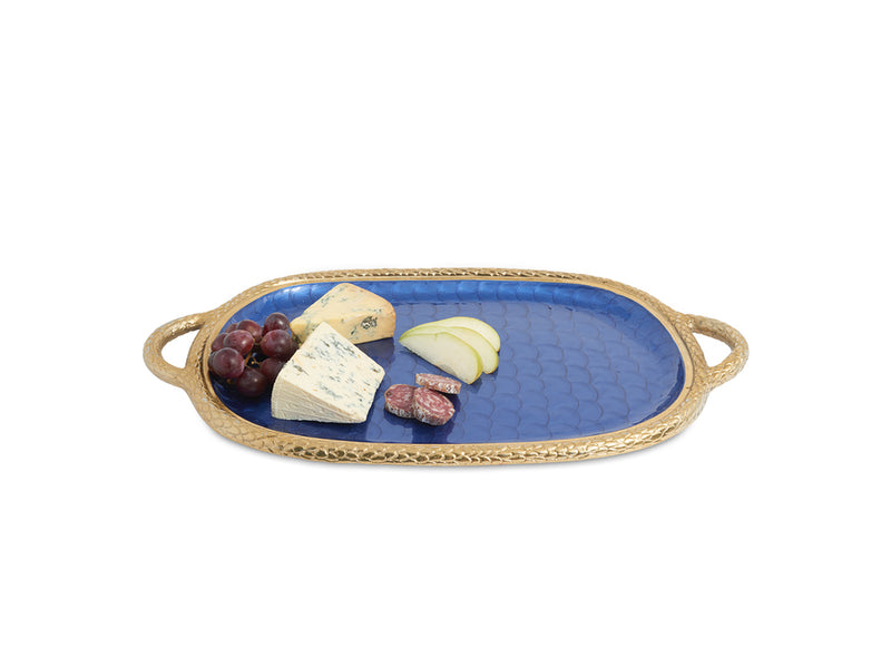 "Florentine Gold 22.5"" Handled Tray Sapphire"