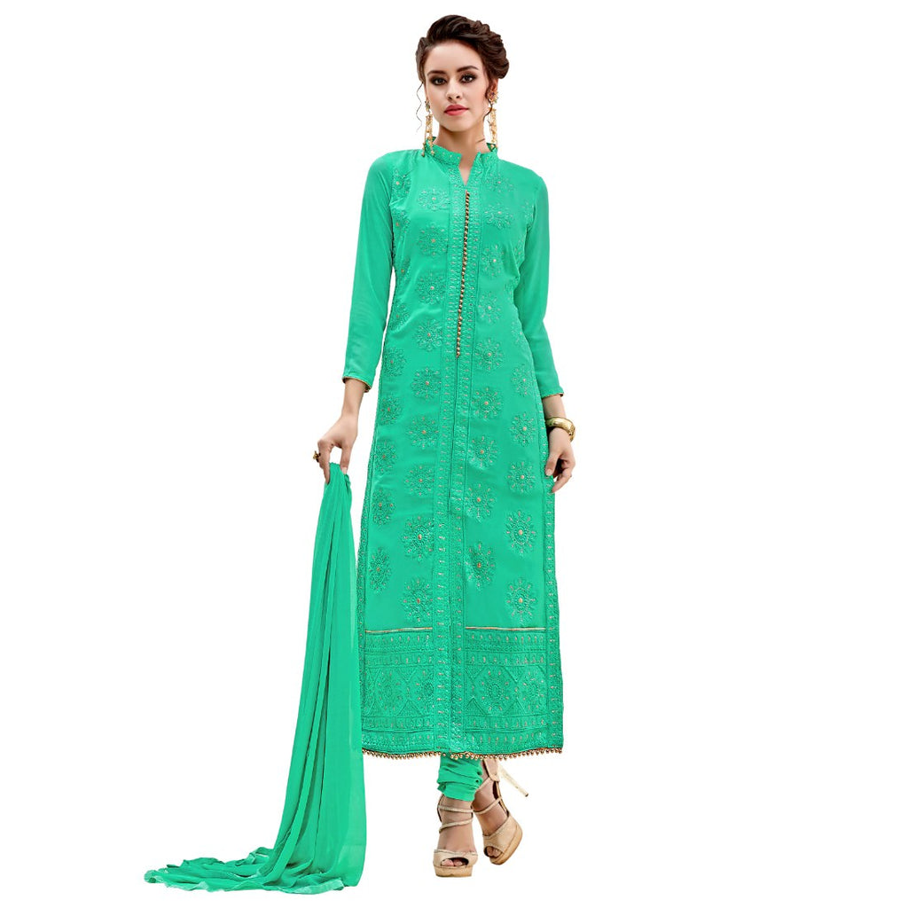 Georgette Fabric Sea Green Color Dress Material