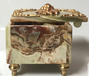 Banded Onyx Box with Ormolu Lion Head