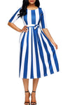 Blue Stripe Print Half Sleeve Belted Midi Dress