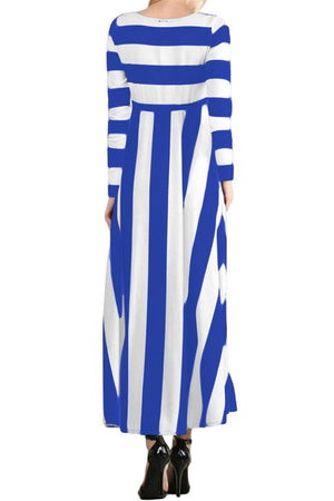 Blue White Bold Stripe Long Sleeve Maxi Dress