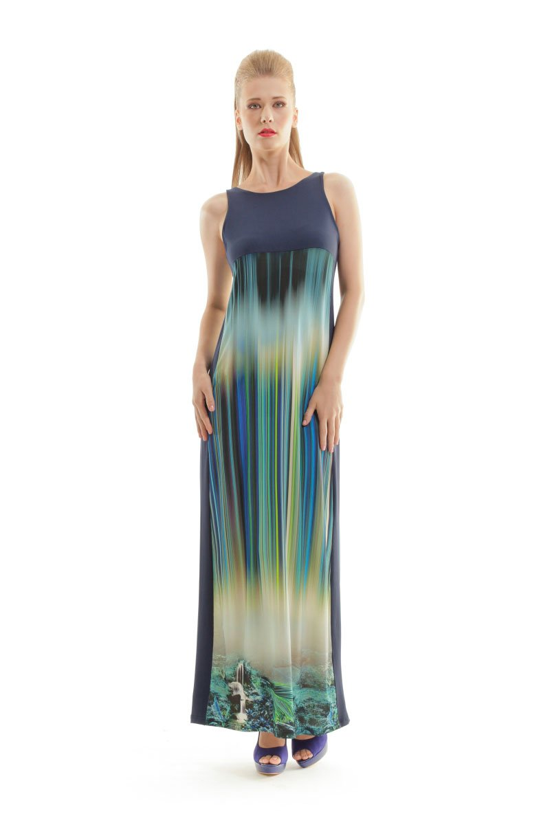 Sleeveless Print Maxi Dress