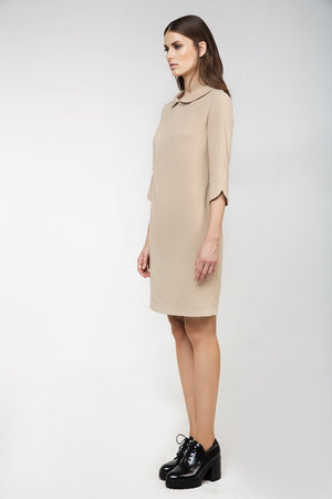 Straight Dress with Rounded Collar