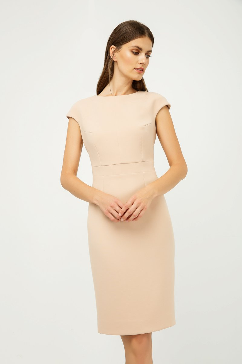 Solid Colour Dress with Cap Sleeves Creme Color.