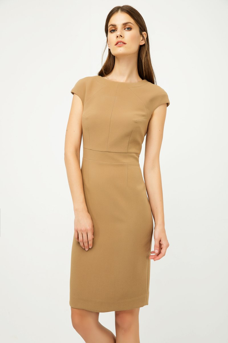 Solid Colour Dress with Cap Sleeves Camel Color.