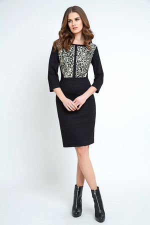 Straight Dress with Animal Print Detail