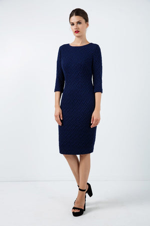 Black Fitted Jacquard Dress