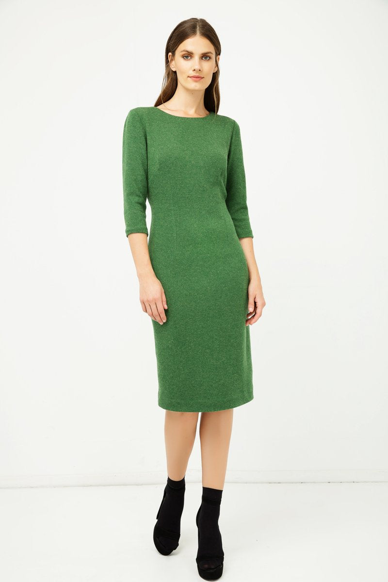 Green Fitted Knit Dress