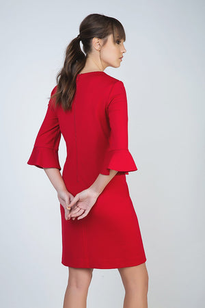 Sleeve Detail Red Dress in Stretch Punto di Roma Fabric