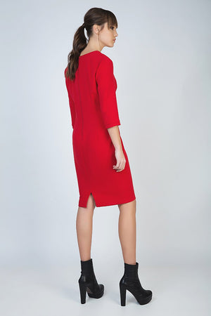 Red Panel Detail Dress in Crepe Fabric