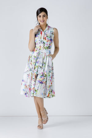 Button Detail Floral Print Dress