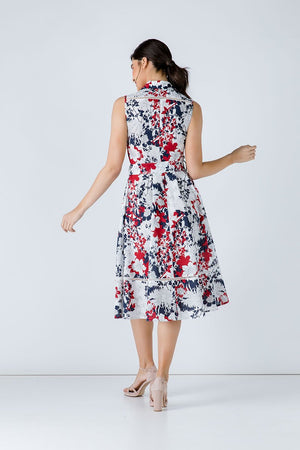 Navy Floral Print Dress with Belt