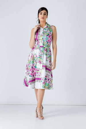 Floral Print Dress with Belt