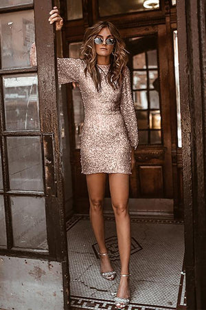 Chic Apricot Puffy Sleeve Sequin Party Mini Dress