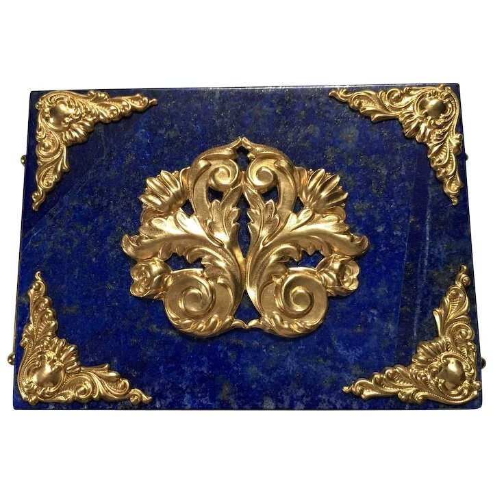 Deep Blue Lapis and Polished Brass Ormolu Filigree Decorative Box