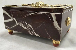 "Deep Red Italian Marble and Carnelian ""Lion Crest"" Box"