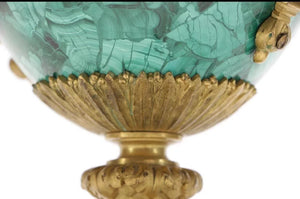Grand matched PAIR of malachite neoclassical urns!