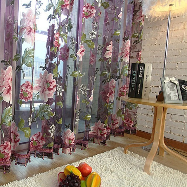 Home Textile Flower Embroidered Luxury 3D Voile