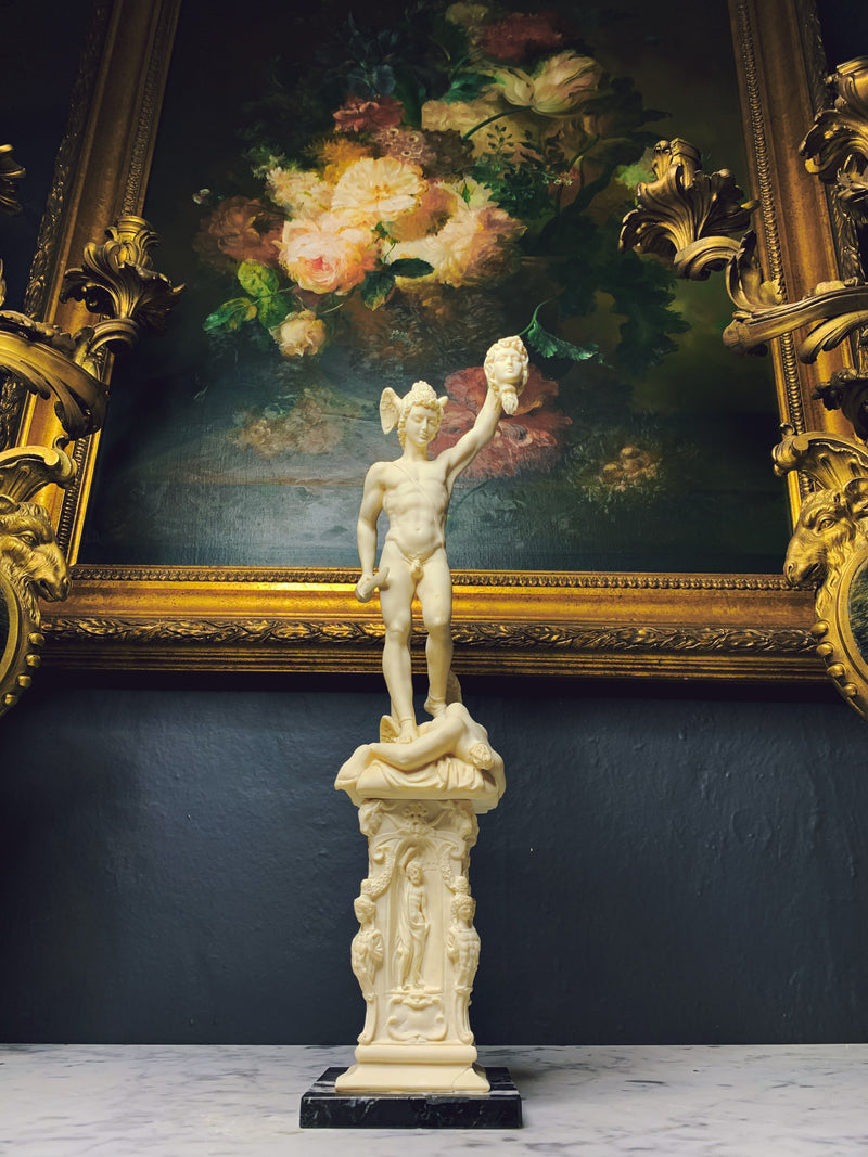 "A grand tour style 18"" tall statue of Perseus holding a Medusa's head"