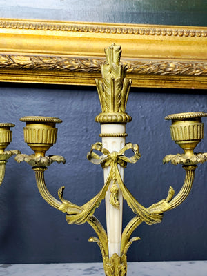Early 20th Century Pair of Marble and Gilt Bronze Small Candleholders