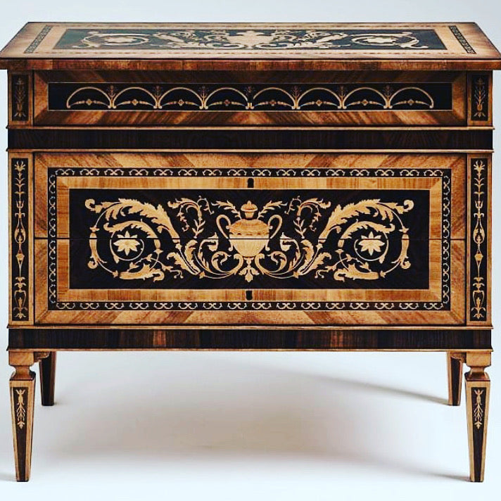 Exotic Wood Handmade Marquetry Italian Chest Of Drawers