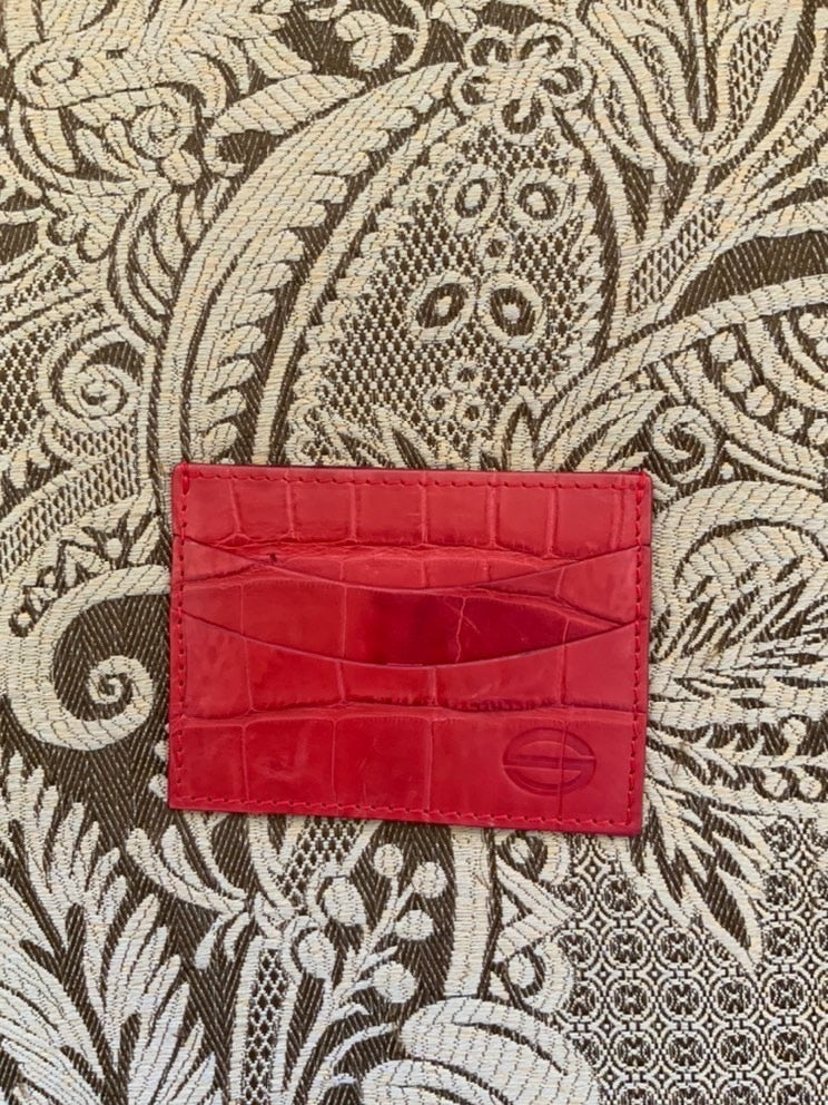 Red Luxury exotic leather credit card cases