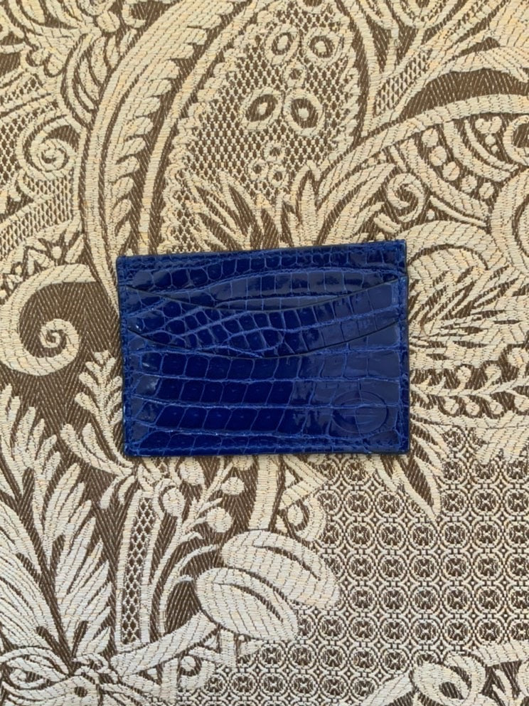 Luxury exotic leather credit card cases - Blue