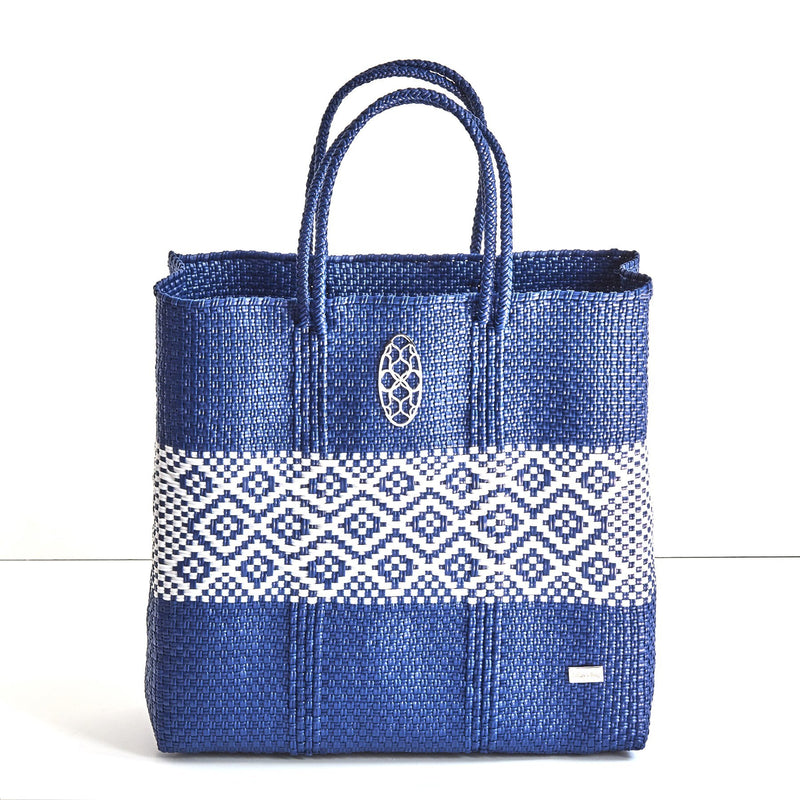 MEDIUM BLUE WHITE STRIPE TOTE BAG