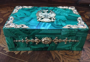 Large Malachite Hinged Box with Russian Imperial Motif