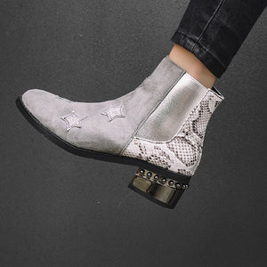 Ankle Boots Women Square Heel Zipper Snake