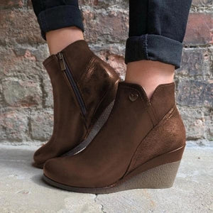 Short Boots Women's Wedge Zipper Vintage