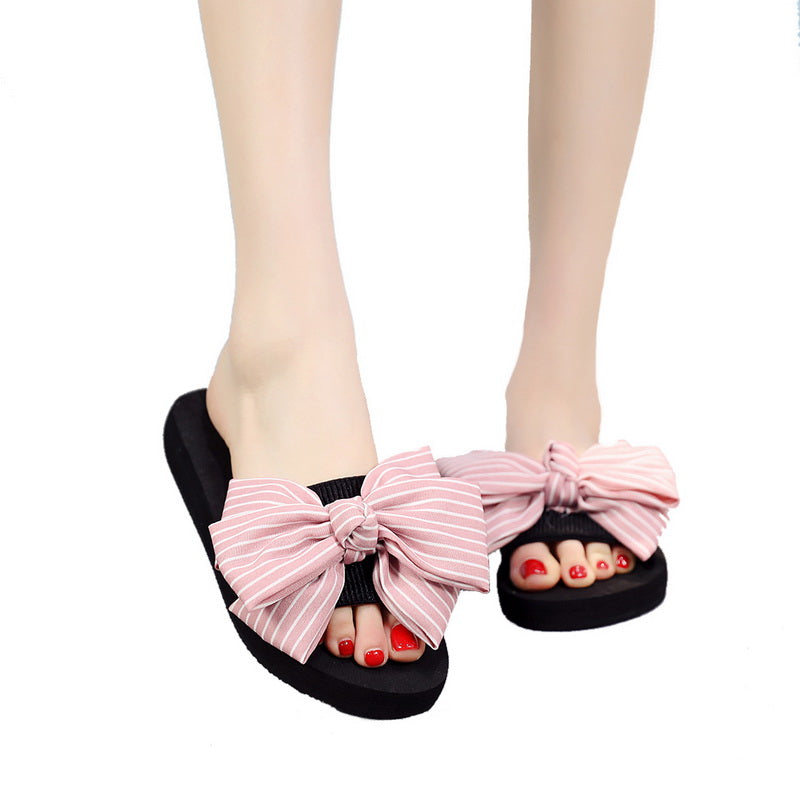 Torridity Women Bow Slippers Bowknot Stripe