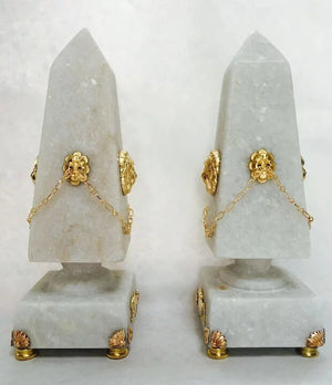 "Pair of White Granite ""Lion and Hare"" Table-Top Obelisks"