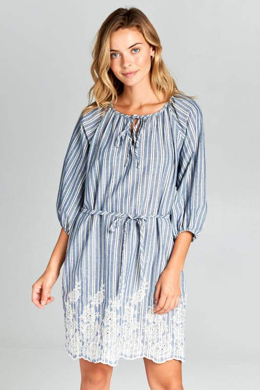 3/4 SLEEVE STRIPED WAIST TIE DRESS WITH BOTTOM