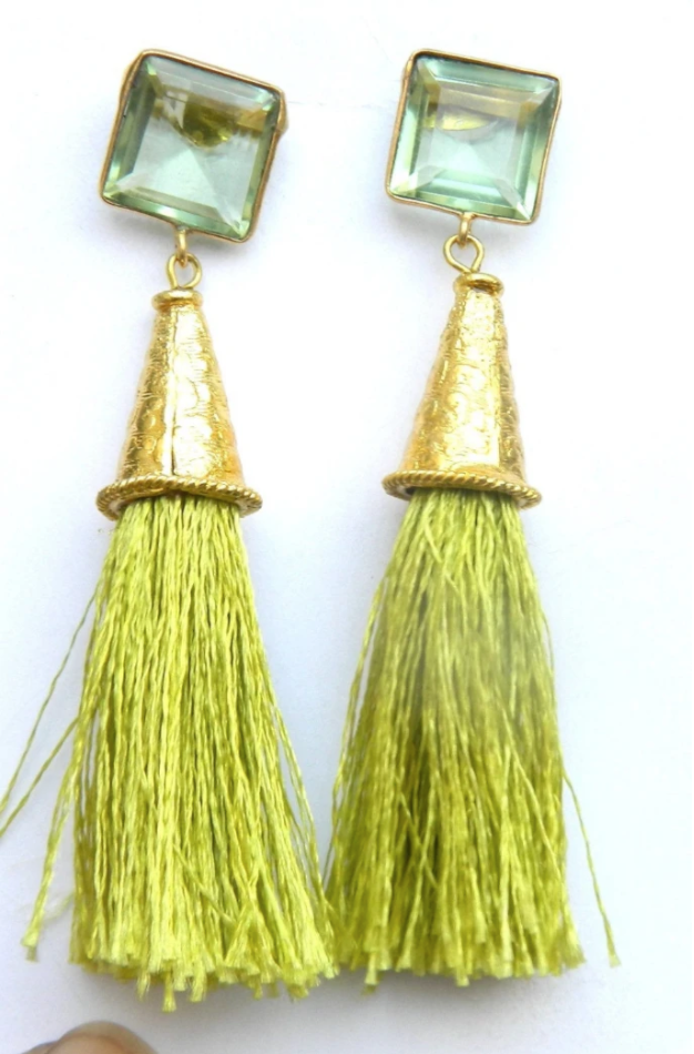 GREEN QUARTZ AND GOLD EARRINGS