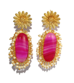 PINK AGATE AND GOLD DROPS