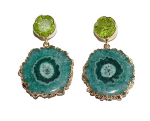 PERIDOT QUARTZ FLOWER DROP EARRINGS