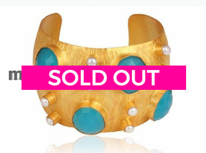 Riviera Cuff in Aqua Chalcedony and Gold